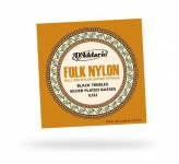 D'ADDARIO EJ32 FOLK NYLON Silver Ball End Black Treble