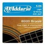D'ADDARIO EJ36 80/20 Bronze Light 12-String
