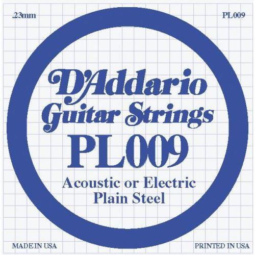 Струна для акустической гитары D'ADDARIO PL009 Plain Steel
