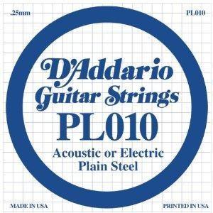 Струна для акустической гитары D'ADDARIO PL010 Plain Steel