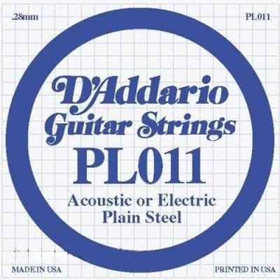 Струна для акустической гитары D'ADDARIO PL011 Plain Steel