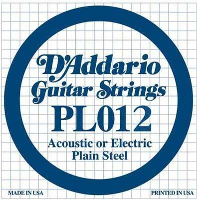 Струна для акустической гитары D'ADDARIO PL012 Plain Steel