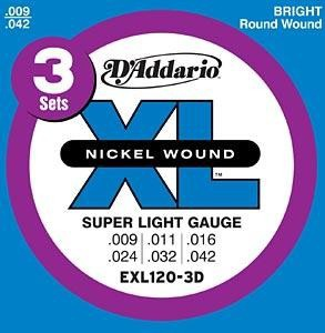 Струны для электрогитары D'ADDARIO EXL120-3D XL Super Light (3 set)