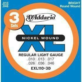 Струны для электрогитары D'ADDARIO EXL110-3D XL Regular Light (3 set)