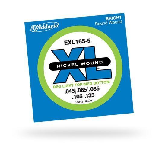 Струны для бас-гитары D'ADDARIO EXL165-5 XL Regular Light Top Medium Bottom 5str