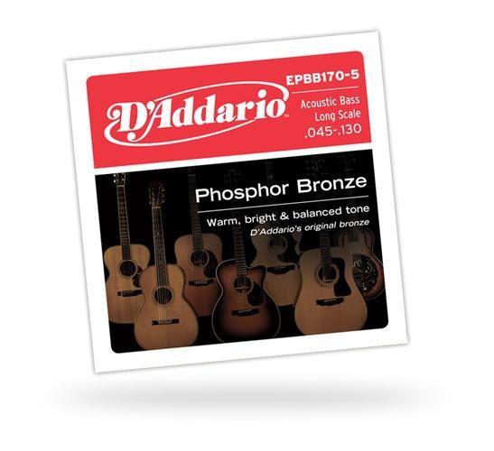 Струны для бас-гитары D'ADDARIO EPBB170-5 Acoustic Bass Phosphor Bronze 5str