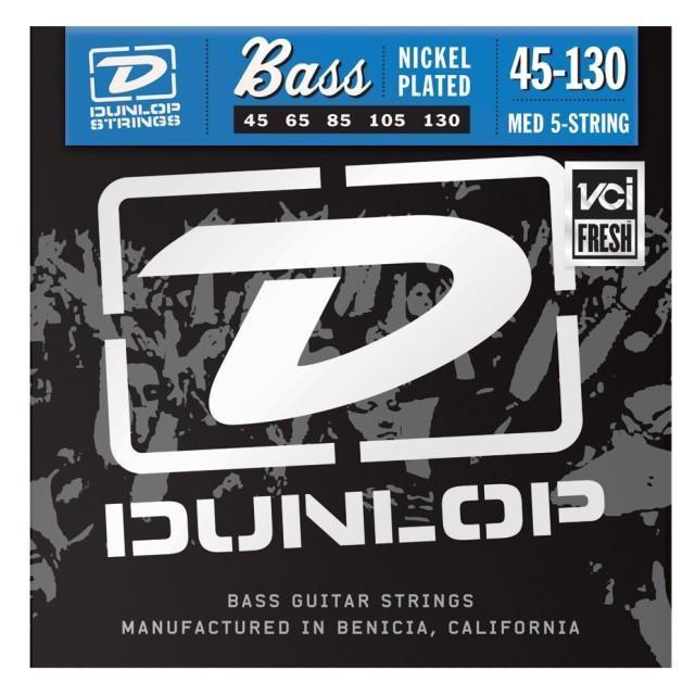 Струны для  бас-гитары DUNLOP DBN45130 NICKEL PLATED STEEL MEDIUM 5 STRING 45-130
