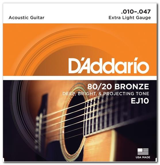 Струны для акустической гитары D'ADDARIO EJ10 80/20 Bronze Extra Light