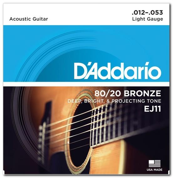 Струны для акустической гитары D'ADDARIO EJ11 80/20 Bronze Light