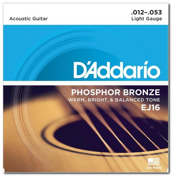 Струны для акустической гитары D'ADDARIO EJ16 Phosphor Bronze Light