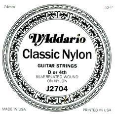 Струна для классической гитары D'ADDARIO J27H04 SILVER CLASSICS CLEAR NYLON D