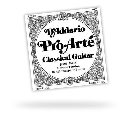 Струна для классической гитары D'ADDARIO J4704 PRO ARTE CLEAR NYLON BRONZE WOUND D