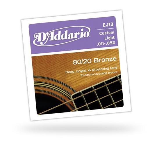 Струны для акустических гитар D'ADDARIO EJ13 80/20 Bronze Custom Light