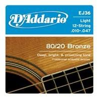 D'ADDARIO EJ36 80/20 Bronze Light 12-String