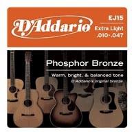Струны для акустической гитары D'ADDARIO EJ15 Phosphor Bronze Extra Light
