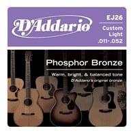Струны для акустической гитары D'ADDARIO EJ26 Phosphor Bronze Custom Light