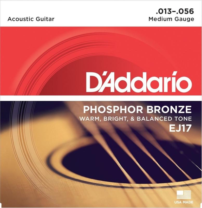 Струны для акустической гитары D'ADDARIO EJ17 Phosphor Bronze 13-56 Medium