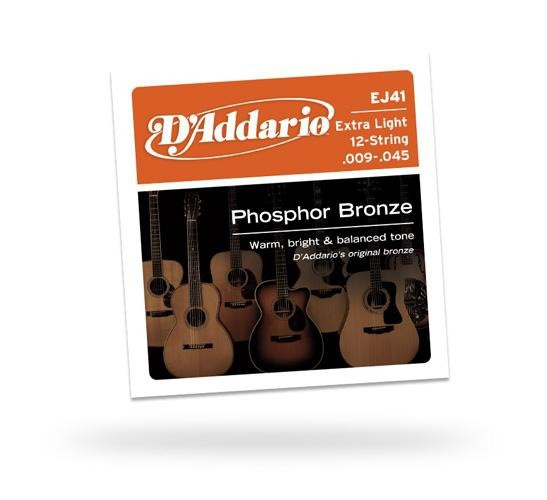 Струны для акустической гитары D'ADDARIO EJ41 Phosphor Bronze 12-String Extra Light
