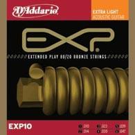 Струны для акустической гитары D'ADDARIO EXP10 EXP 80/20 Bronze Extra Light